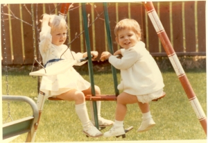 Carole as a tot (R), and her pal (L)