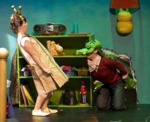 Ella Simon (as the Paper Bag Princess) and Melissa Oei (as The Dragon)