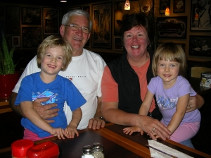 Grampa (Jim) and Gran (Cathie) with their two beautiful granddaugters, Reese (age 5) and Sloane (age 3).